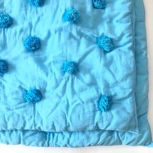 Pottery Barn Teen Pom Poms 2 Euro Pillow Blue